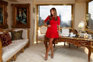 FEATURES: Melania Trump, the wife of real estate mogul Donald Trump, talks about her new QVC jewelry line at her home at 721 5th Avenue in Trump Residential, here today July 12, 2011.